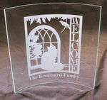 "Personalized 7"" x 7"" 'Welcome' Curved Glass Frame"
