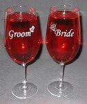 Personalized Bride and Groom Vina Briossa Wine Glass Set
