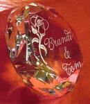 Crystal Diamond Paperweight with etched rose design and text deeply sandblasted by hand out of the glass for a personalized custom paperweight