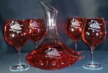 Crystal Grapes Engraved Wine Decanter Set
