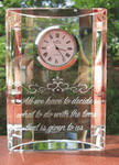 Crystal half moon clock with etched custom text deeply sandblasted by hand out of the glass for a personalized custom clock
