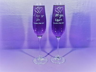 Personalized Handwritten Crystal Titanium Flute Set of 2