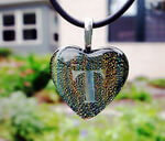Personalized crystal art glass heart necklace with etched custom text deeply sandblasted by hand out of the glass for a personalized custom necklace