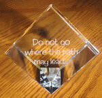 Crystal large cube with etched custom text deeply sandblasted by hand out of the glass for a personalized custom cube