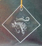 Diamond Ornament/Suncatcher with etched horse swirls design deeply sandblasted by hand out of the glass for a personalized custom ornament or suncatcher