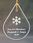 Teardrop Ornament/Suncatcher with etched snowflake design and text deeply sandblasted by hand out of the glass for a personalized custom ornament or suncatcher
