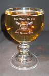 Engraved beer mug with etched custom text deeply sandblasted by hand out of the glass for a personalized custom beer mug