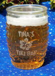 Personalized beer glass with etched custom text and design deeply sandblasted by hand out of the glass for a personalized custom beer mug