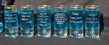 Engraved Crystal Vodka Shot Glass Set of 6