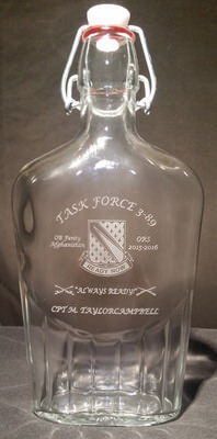 Personalized Engraved 17oz Whiskey Flask with a military design