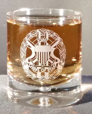 Personalized Engraved Crystal Single Malt Scotch glass with the Joint Chiefs of Staff logo
