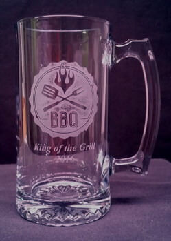 Personalized Engraved Sport Beer Mug with custom BBQ design