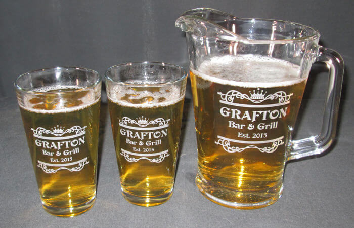 Personalized Engraved 20oz Beverage/Pint Glass and Beer Pitcher Set