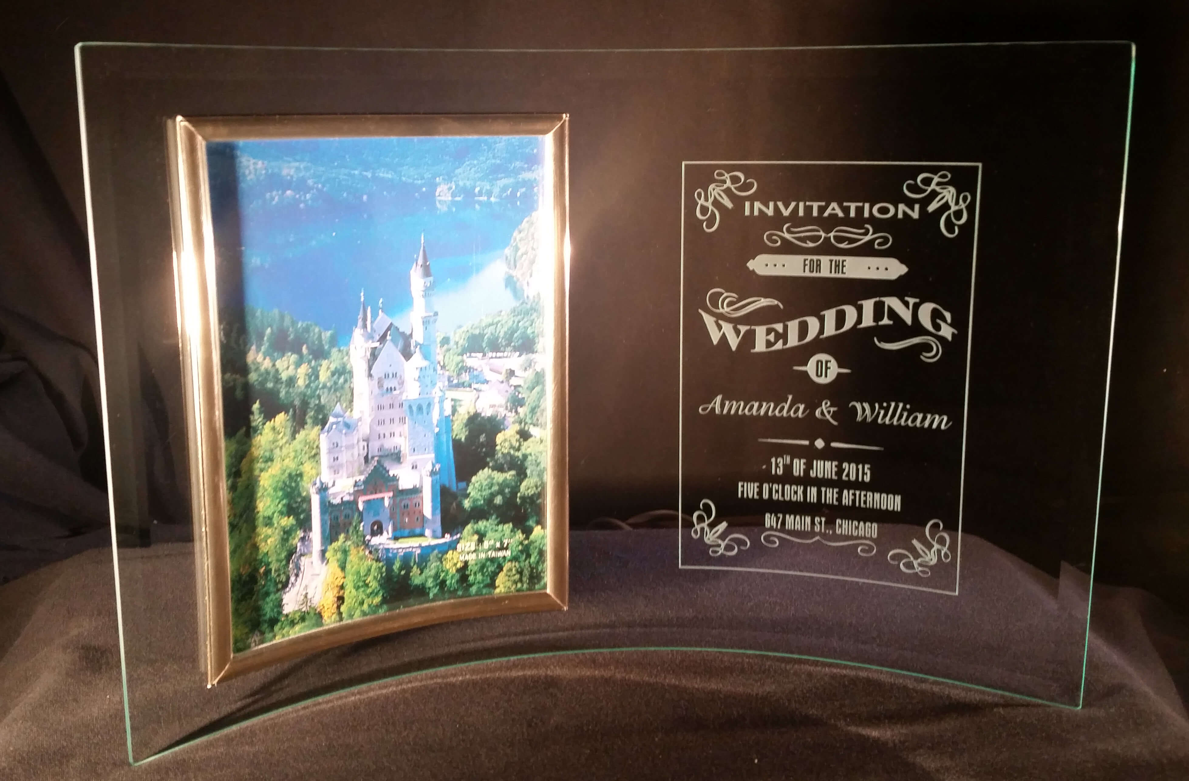"Personalized Engraved 5"" x 7"" Curved Glass Picture Frame"