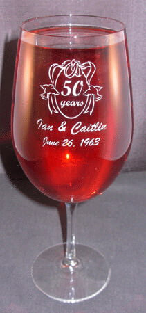 Personalized Engraved Anniversary Vina Briossa Wine Glass