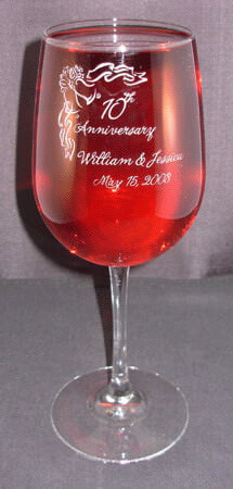 Personalized Engraved Anniversary Vina Grand Wine Glass