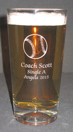 Personalized Baseball Engraved Beverage/Pint Glass