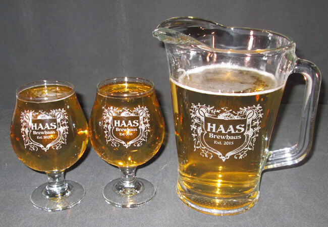 Personalized Engraved Belgian Beer Glass and Beer Pitcher Set
