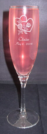 Personalized Engraved Domaine Champagne Flute with a design