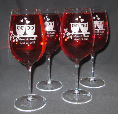 Personalized Engraved Crescendo Bordeaux Wine Glass Set of 4