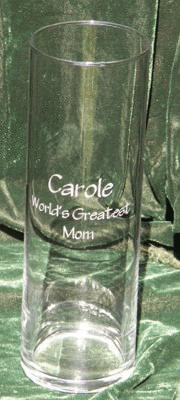 Personalized Engraved Clear Cylinder Vase