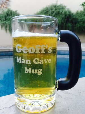 Personalized Engraved Black Frost-Free Grip Tankard Beer Mug