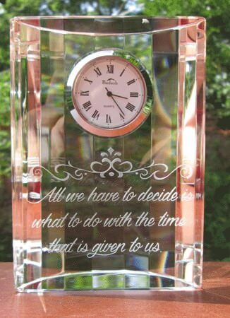 Personalized Engraved Crystal Half Moon Clock