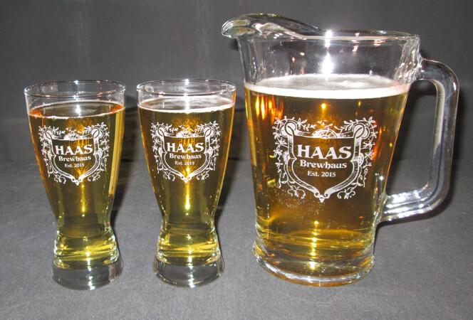 Personalized Engraved Hourglass Pilsner Beer Mug and Beer Pitcher Set