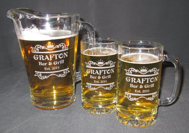 Personalized Engraved Tankard Beer Mug and Beer Pitcher Set