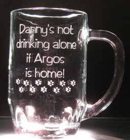 Personalized Engraved Not Drinking Alone Thumbprint Beer Mug, Alternate Design