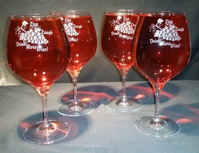 Personalized Engraved Lead Free Crystal Vitner's Choice Burgundy/Pinot Noir Wine Glass, set of 4