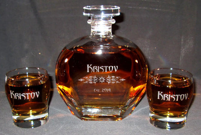 Personalized Engraved Puccini Whiskey Decanter Set