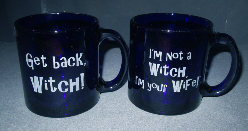 Personalized Engraved Witch Quote 13 oz Blue Coffee Mug set