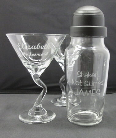 Personalized Engraved Z-Stem Martini Set