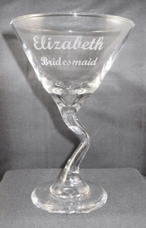 Personalized Engraved Z-Stem Martini Glass