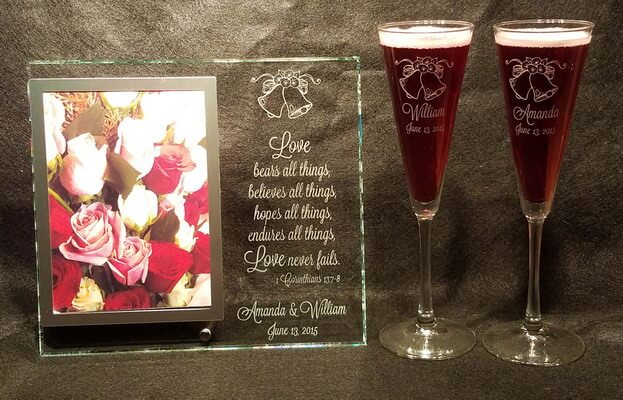 Personalized Engraved Wedding Frame and Flutes Set