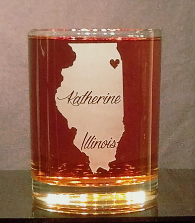 Personalized Illinois Whiskey Glass