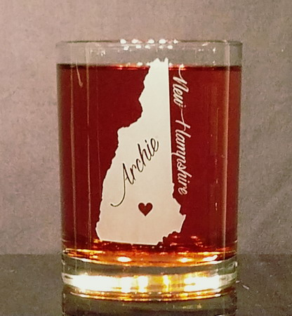 Personalized New Hampshire Whiskey Glass