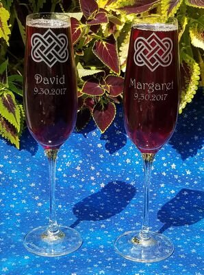 Personalized Engraved Set of 2 Crystal Titanium Champagne Flutes
