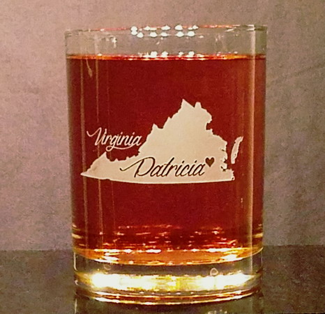 Personalized Virginia Whiskey Glass